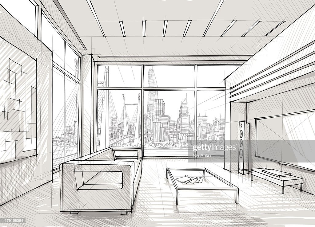 Sketched design of a spacious lounge overlooking the city : Vector Art