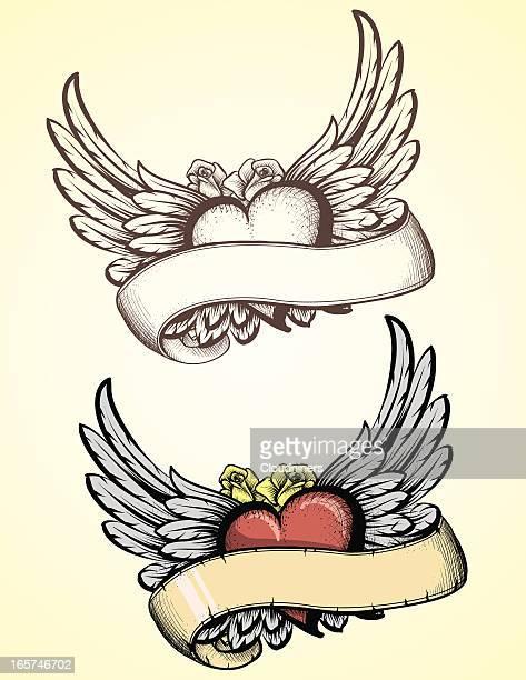 bildbanksillustrationer, clip art samt tecknat material och ikoner med sketched flying heart tattoo - tatuering