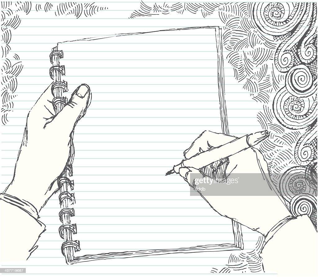 Sketched hand doodling