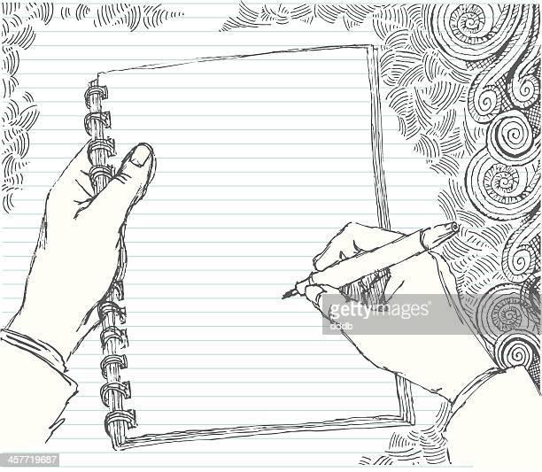 ilustrações, clipart, desenhos animados e ícones de esboçada mão fazer anotações - caligrafia