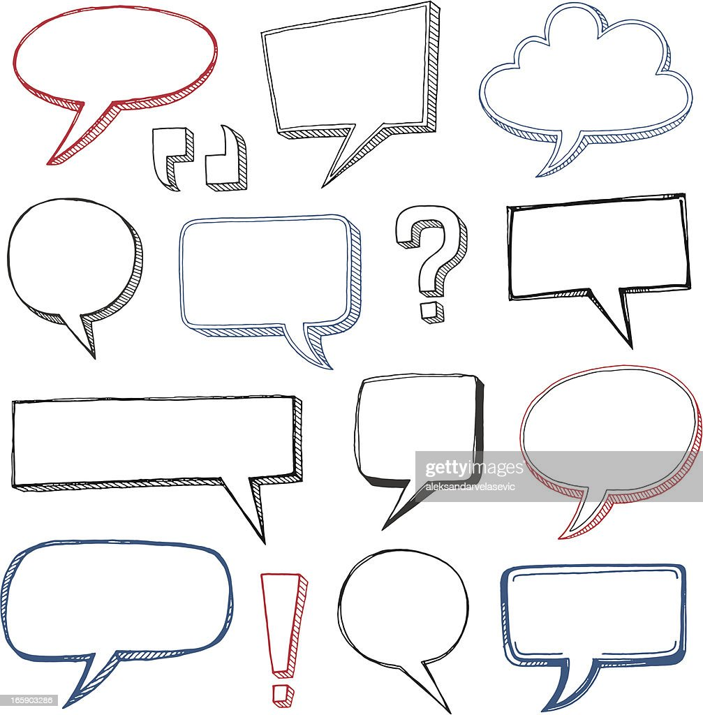 Sketched Speech Bubbles : stock illustration