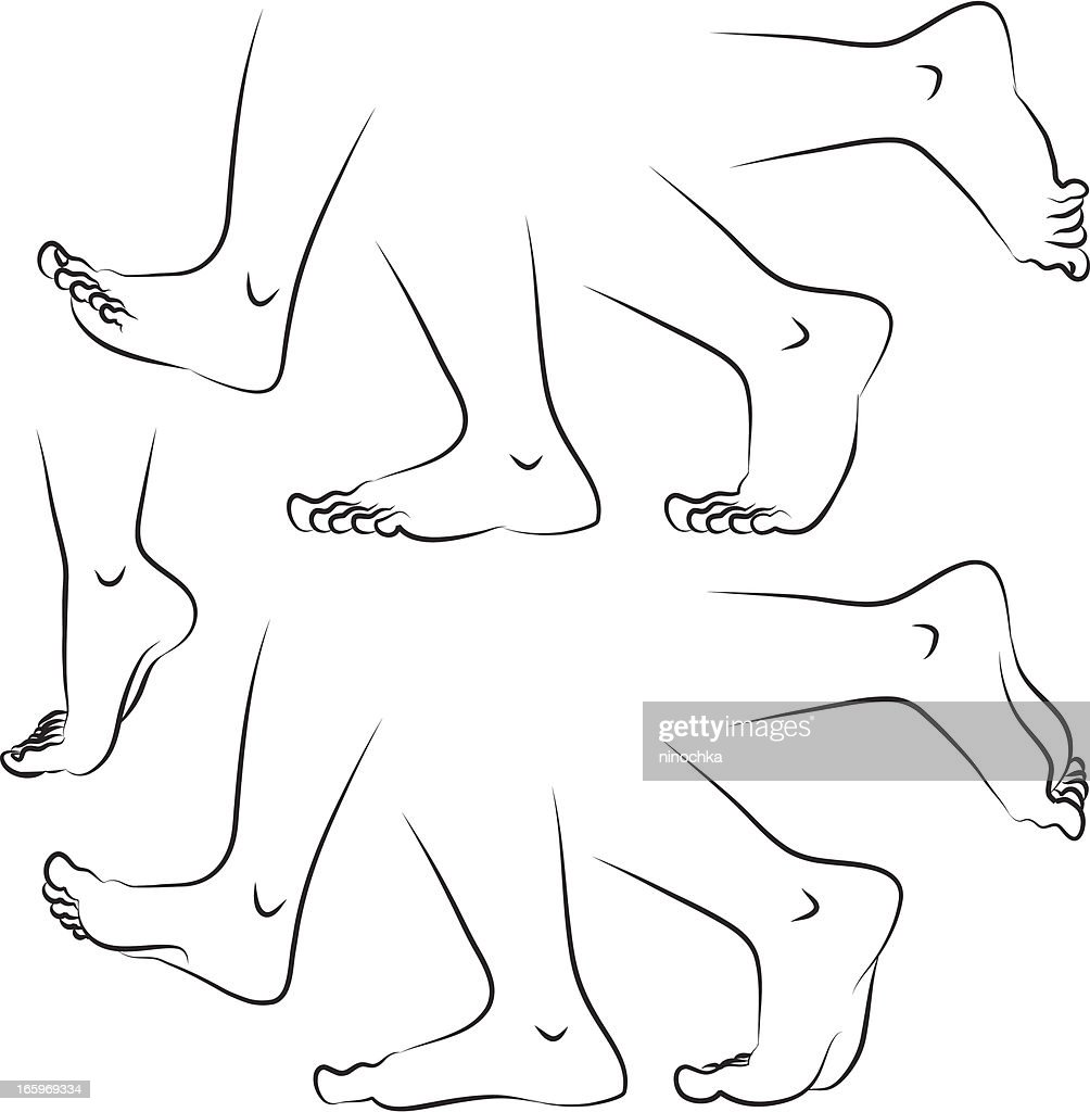 sketches of feet in various positions vector art getty images