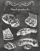 sketches of meat foods