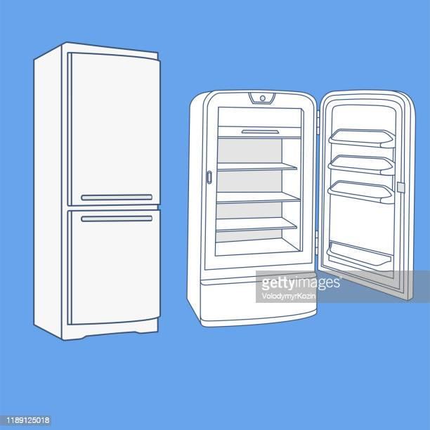 近代的でレトロな冷蔵庫のスケッチ - 冷蔵庫点のイラスト素材/クリップアート素材/マンガ素材/アイコン素材