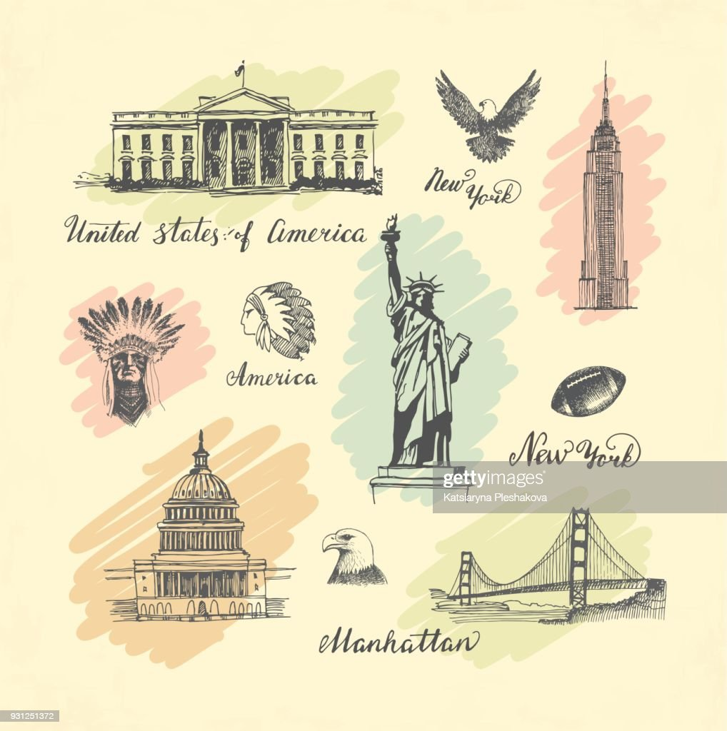 Sketches of symbols of the USA
