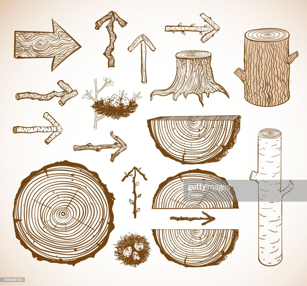 Sketches of wooden elements