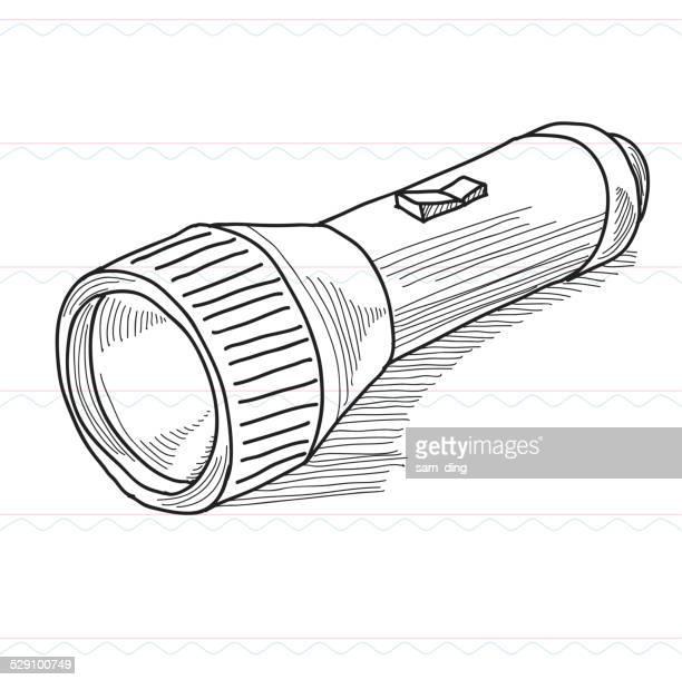 sketch,flashlights, lighting - flashlight stock illustrations, clip art, cartoons, & icons