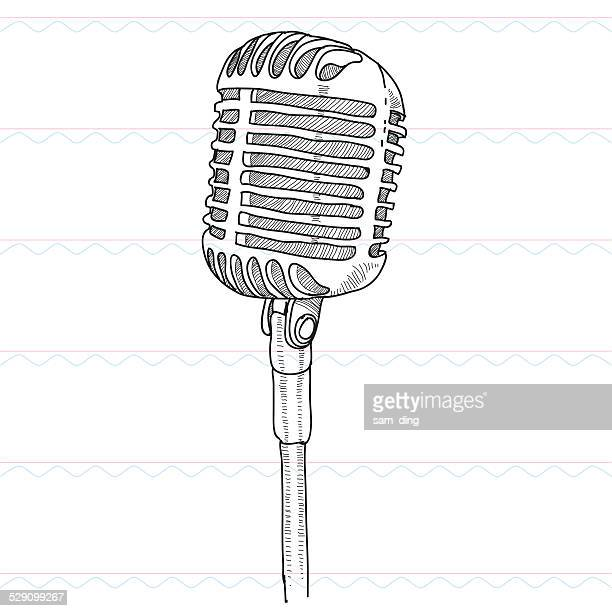 sketch,microphone, sound, musict - microphone stock illustrations