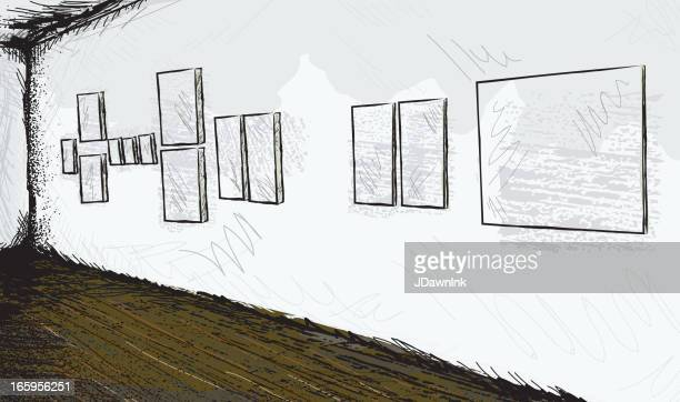 Sketchy abstract art gallery or museum interior with blank paintings