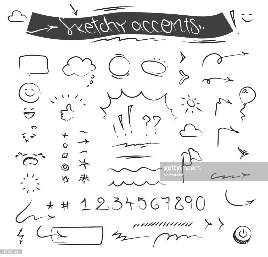 Sketchy accents vector set