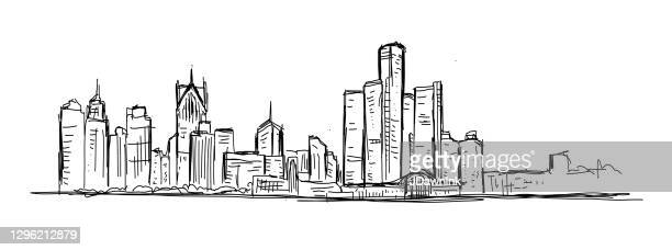 sketchy and loose drawing of downtown detroit michigan usa skyline - detroit stock illustrations