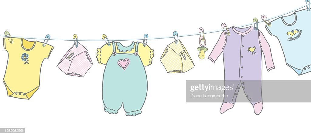 sketchy baby clothes hanging on a clothesline vector art getty images