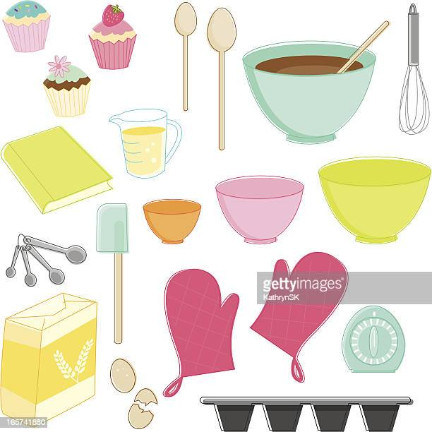 sketchy baking essentials - making a cake stock illustrations, clip art, cartoons, & icons