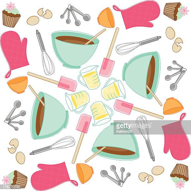 sketchy baking pattern - making a cake stock illustrations, clip art, cartoons, & icons