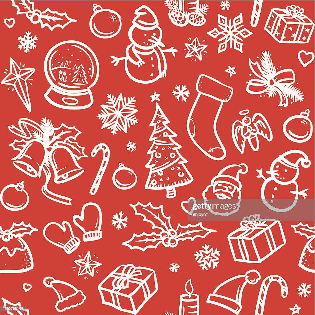 Sketchy Christmas icons background : stock illustration