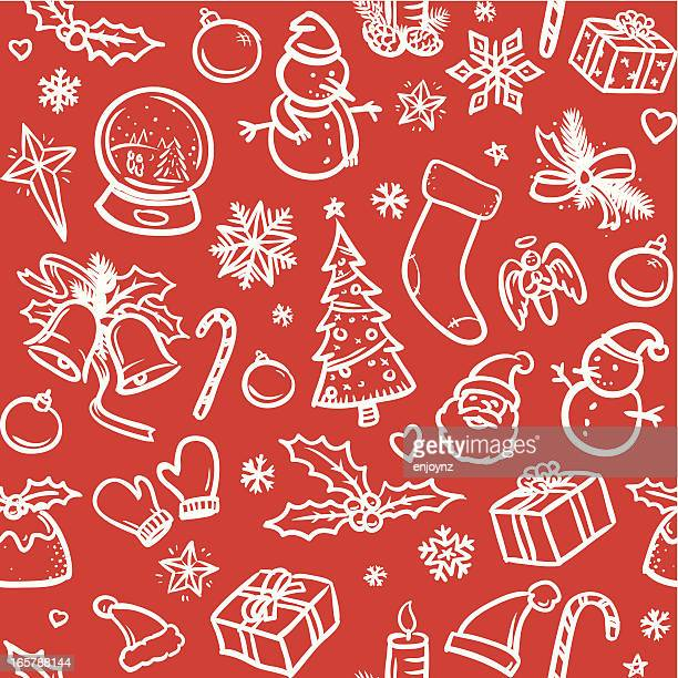 Sketchy Christmas icons background