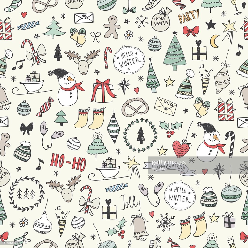 Sketchy Christmas seamless pattern