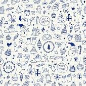 Sketchy Christmas seamless pattern