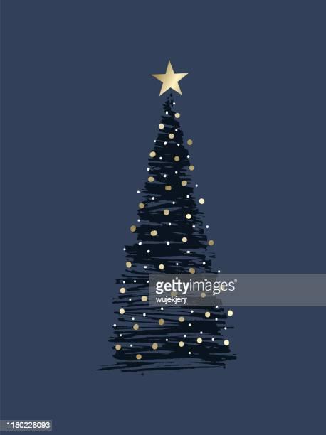 ilustraciones, imágenes clip art, dibujos animados e iconos de stock de árbol de navidad esbozado - azul marino