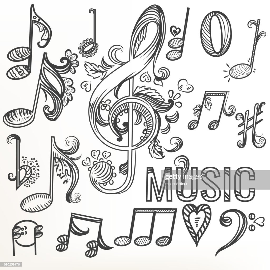 Sketchy doodle set treble clef and other music symbols vector art sketchy doodle set treble clef and other music symbols vector art biocorpaavc Images
