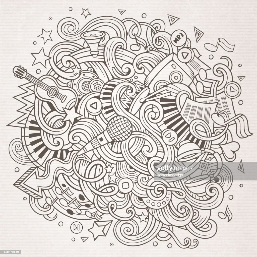 Sketchy doodles Musical illustration
