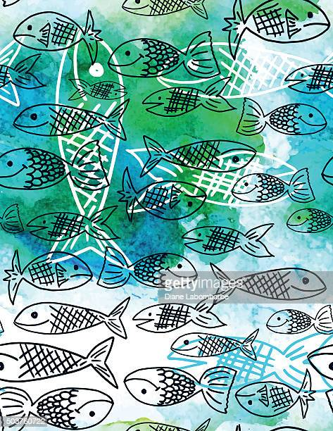 Sketchy Fish Seamless Pattern With Watercolor