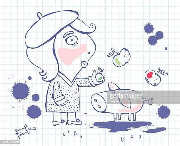 ilustrações, clipart, desenhos animados e ícones de esboços de menina e porco - livro de exercícios