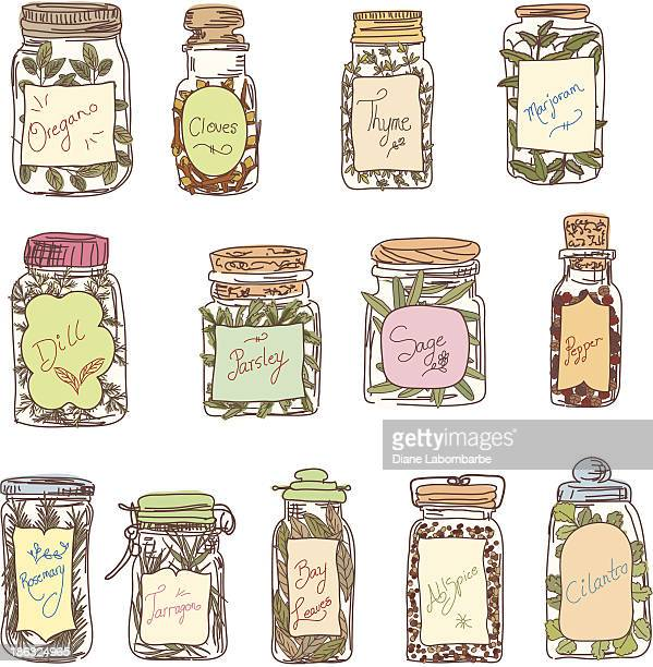 Sketchy Jars Of Herbs & Spices