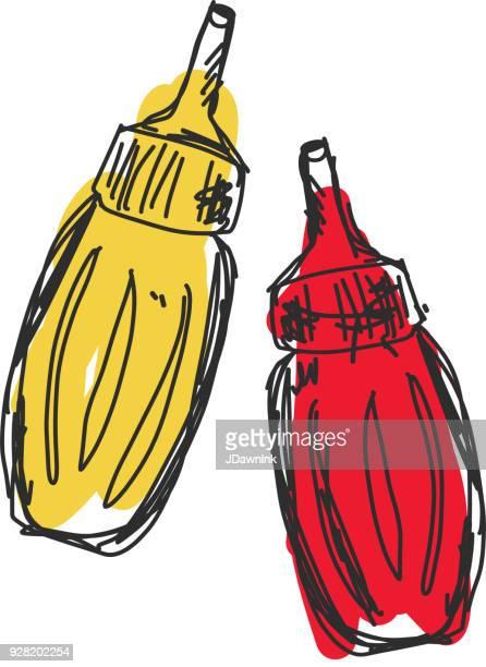 sketchy ketchup and mustard bottles - ketchup stock illustrations, clip art, cartoons, & icons