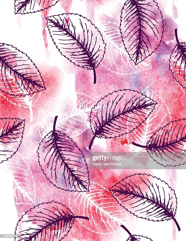 Sketchy Leaves Seamless pattern With Watercolor