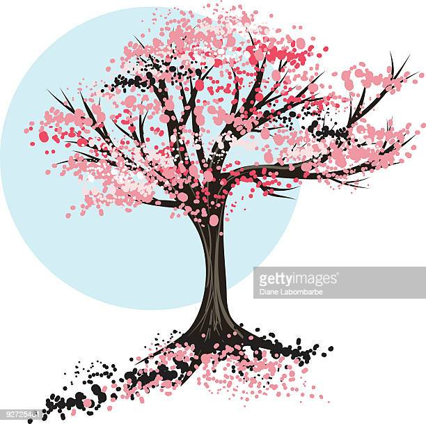 sketchy little tree - spring - flowering trees stock illustrations, clip art, cartoons, & icons