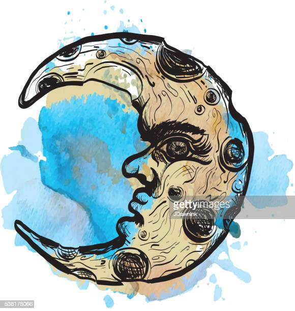 sketchy man in the moon crescent face on watercolor - man in the moon stock illustrations, clip art, cartoons, & icons