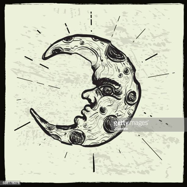 sketchy man in the moon crescent face - man in the moon stock illustrations, clip art, cartoons, & icons
