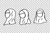 Sketchy of Head of Muslim Women