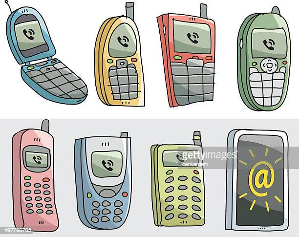 sketchy old mobiles and new one - the past stock illustrations