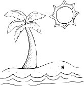 Sketchy Palm Tree On The Beach With Ocean Wave Sun And Starfish