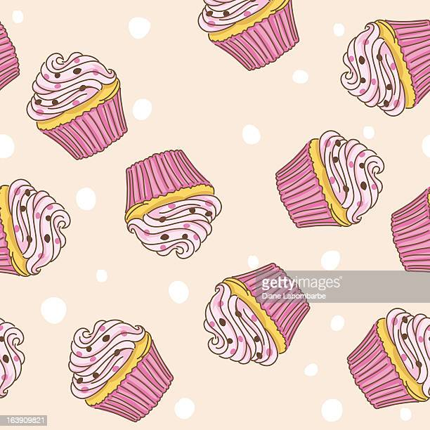 sketchy pink cupcake seamless pattern - icing stock illustrations, clip art, cartoons, & icons