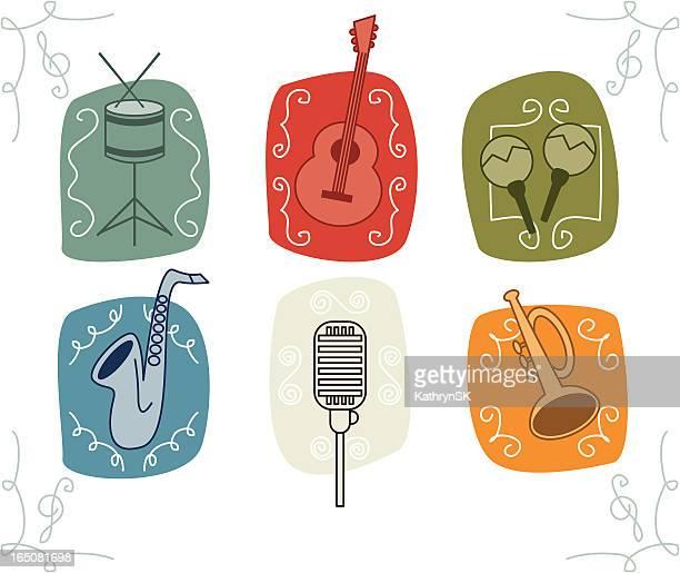 ilustraciones, imágenes clip art, dibujos animados e iconos de stock de esbozos dibujados música retro iconos - treble clef