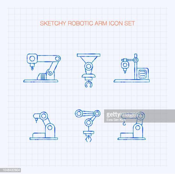 Sketchy Robotic Arm Icon Set