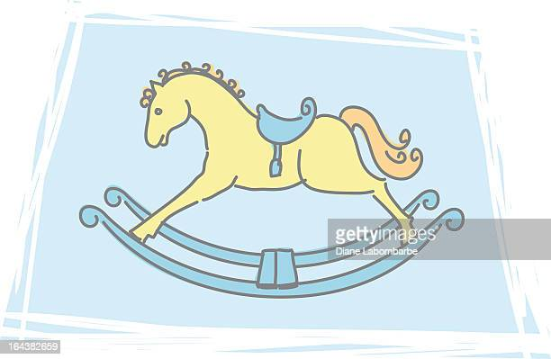 sketchy rocking horse icon - pony stock illustrations, clip art, cartoons, & icons