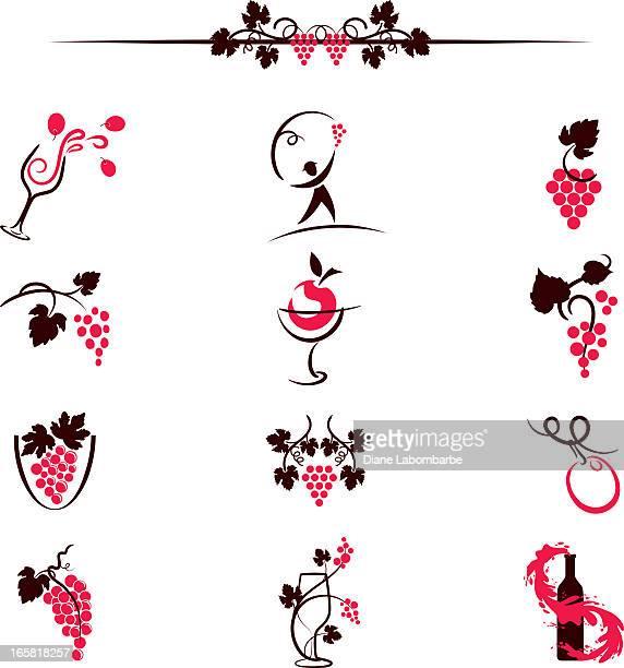 sketchy simplistic wine elements computer icons illustration - grape stock illustrations, clip art, cartoons, & icons