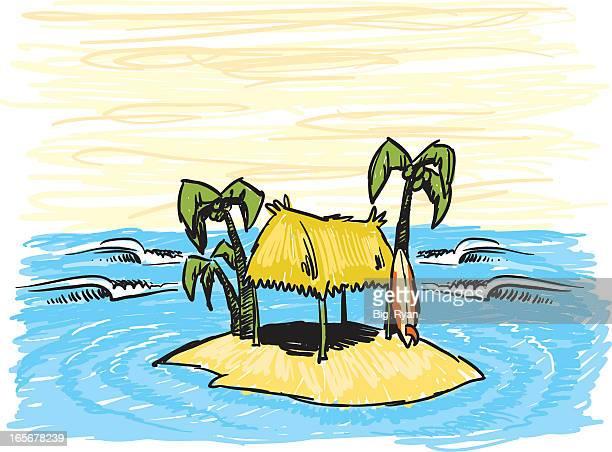 sketchy surf shack - grass hut stock illustrations
