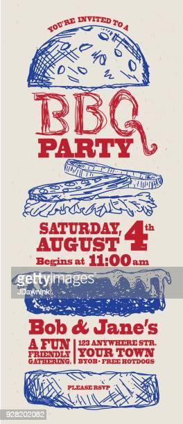 ilustrações, clipart, desenhos animados e ícones de modelo de design de convite de churrasco esboçado syle - hamburger