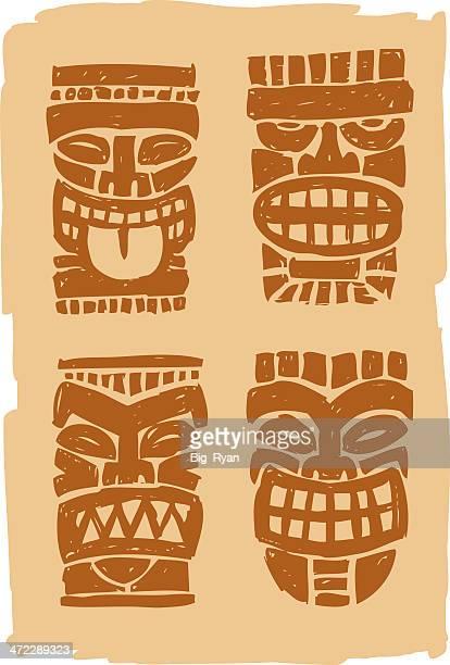 sketchy tiki masks - hawaiian ethnicity stock illustrations, clip art, cartoons, & icons