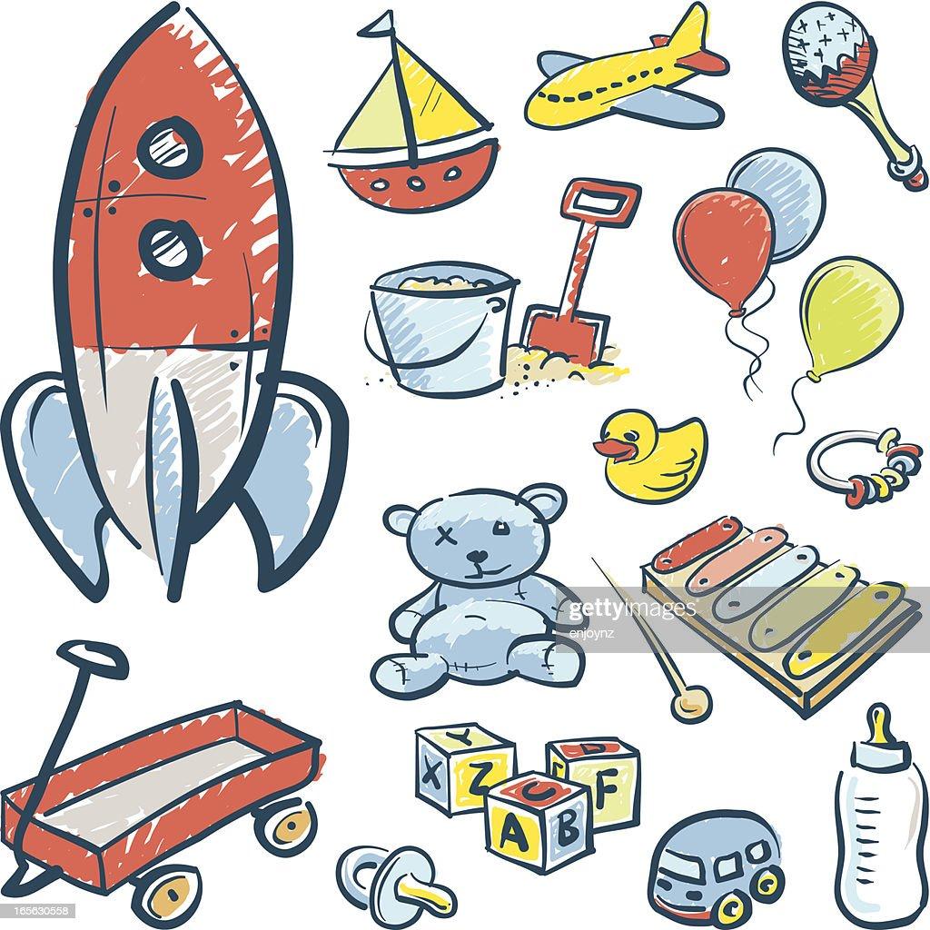 Esboços de brinquedos : Ilustração