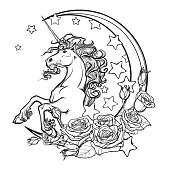 Sketchy unicorn with crescent stars and roses greeting card
