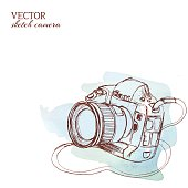 Sketchy vector camera with watercolor background
