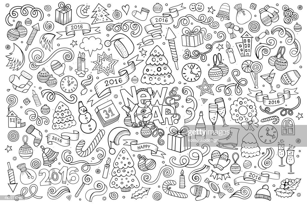 Sketchy vector hand drawn Doodle set of New Year objects