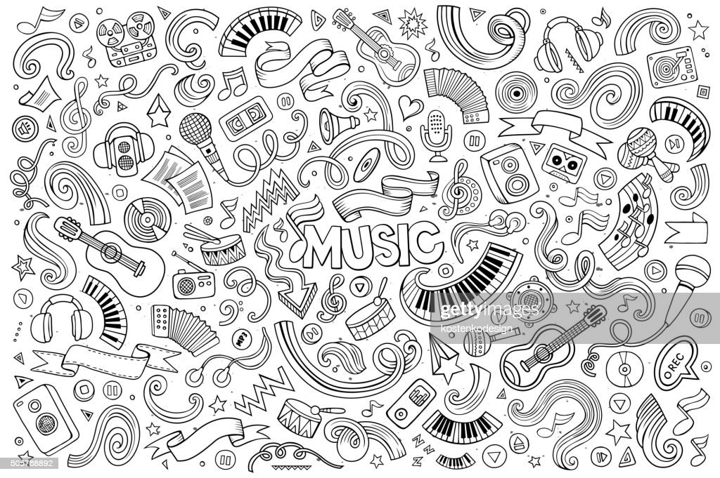 Sketchy vector hand drawn doodles cartoon set of Music objects