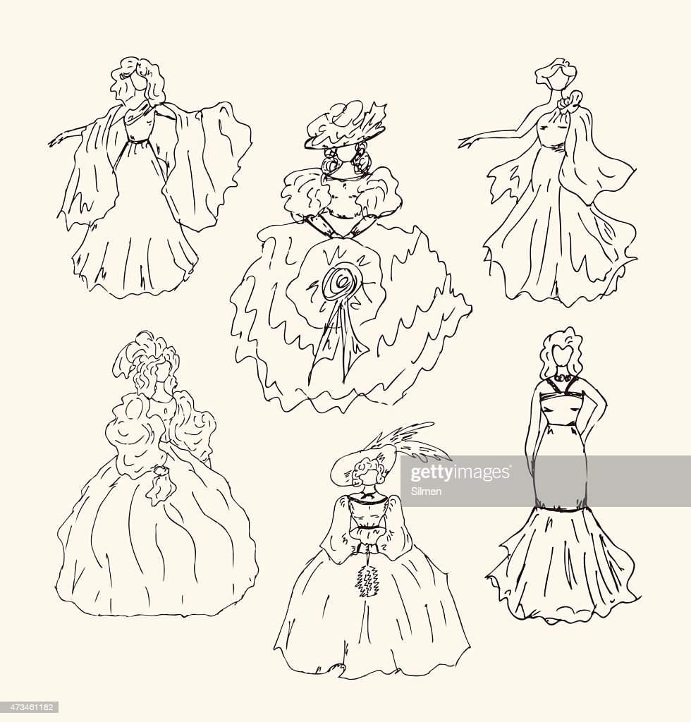 Sketchy vintage women silhouettes set